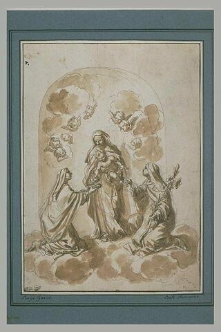 Vierge avec l'Enfant offrant un cruxifix et une couronne à deux saintes