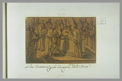 L'évêque trace des croix de Malte sur la pierre de l'autel