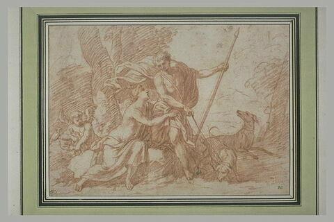 Vénus voulant détourner Adonis de la chasse : il tient une lance et un chien