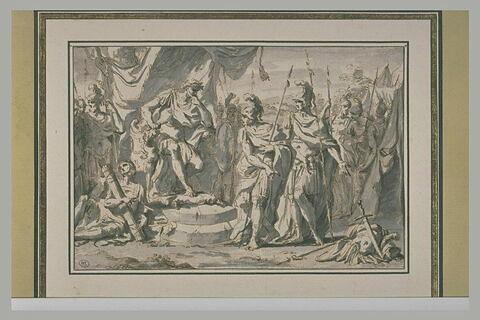 Deux guerriers apportent à Godefroi les armes de Renaud