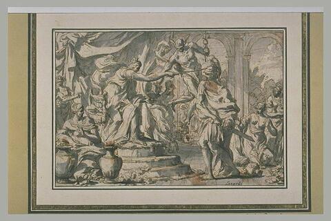 Mercure empêchant l'effet du breuvage que Circé présente à Ulysse