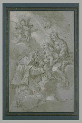 Sainte Thérèse baisant la main de l'Enfant tenu par la Vierge