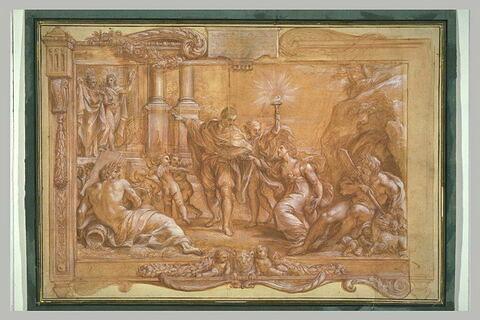 Annibal Carrache conduisant la Peinture au Temple de Pallas et d'Apollon