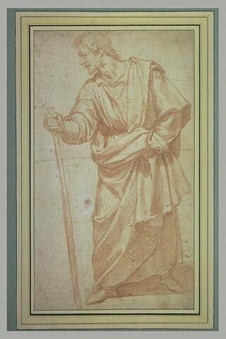 Figure d'homme debout drapé et appuyé sur un bâton