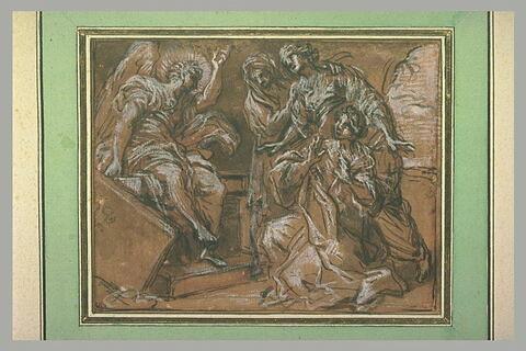 Les Saintes Femmes près de l'ange assis sur le tombeau du Christ