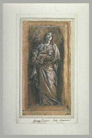 Sainte Agnès tenant un agneau dans ses bras