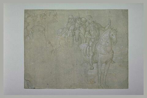 Cavaliers conversant avec des personnages à pieds