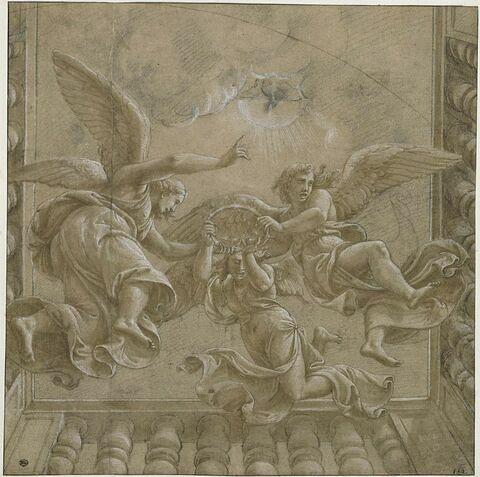 Trois anges en vol portant une couronne