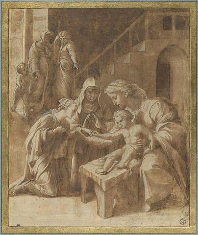 Le Mariage mystique de sainte Catherine d'Alexandrie en présence de sainte Catherine de Sienne et de saint Bernard