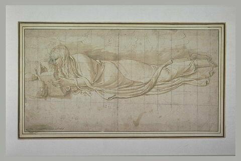 Sainte Madeleine couchée à terre, les cheveux épars, lisant