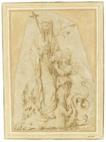 La Bienheureuse Osanna Andreasi avec un ange, foulant le démon aux pieds