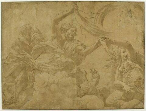 Jupiter tenant le foudre, près de Junon lui indiquant où frapper