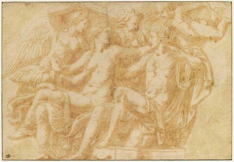 Pan, Hyménée et les amours président à l'union de Vénus et d'Adonis
