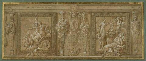 Scènes de l'histoire de Proserpine et termes de Priape,Cérès,Cybèle, Bacchus
