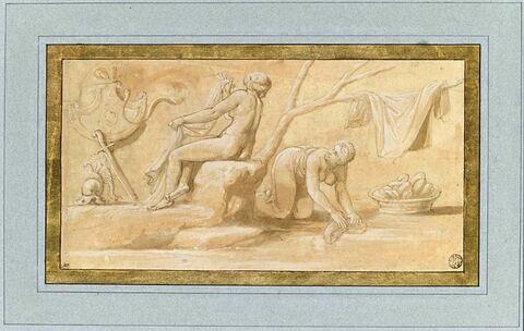 Deux femmes nues, lavant du linge
