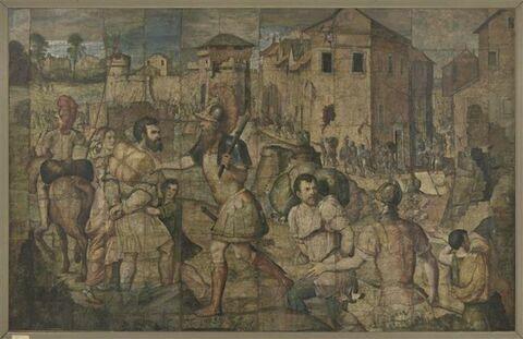 Les habitants d'une ville prise, conduits en esclavage