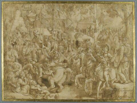 Triomphe de Scipion : les troupes du général défilent en triomphe vers le Capitole