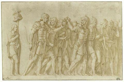 Convoi militaire avec porteurs d'enseigne et archers