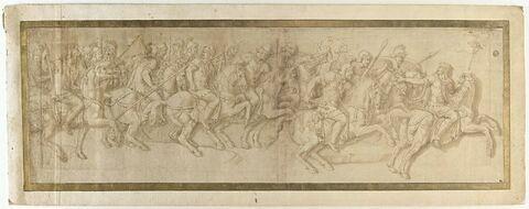 Convoi militaire avec cavaliers armés au galop