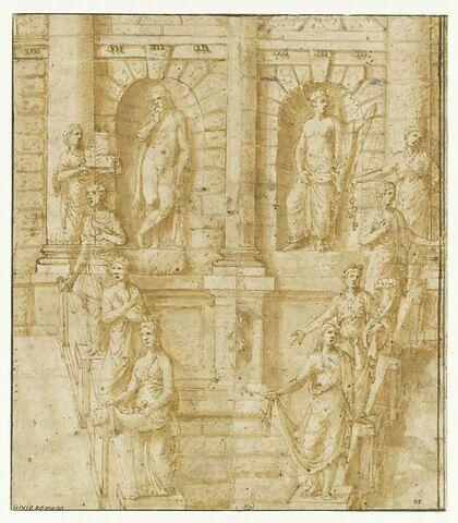 Etude d'une partie de la façade d'un arc de triomphe