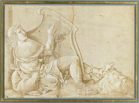David assis, pincant de la harpe et foulant aux pied la tête de Goliath