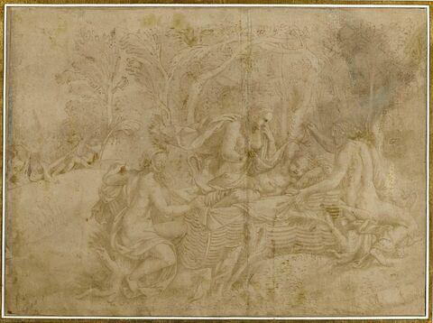Jupiter enfant gardé par les Corybantes sur l'île de Crète