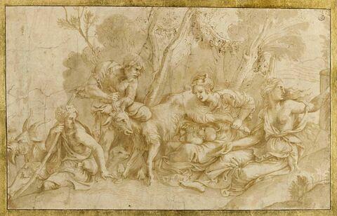 Nymphes allaitant Jupiter avec le lait de la chèvre Amalthée
