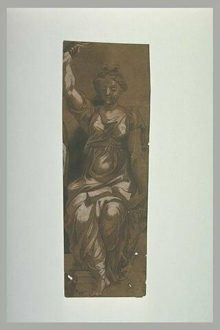 Junon armée de la foudre, assise, de face, un livre sur les genoux