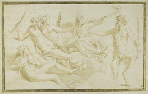 Bacchus et Ariane avec l'Amour, Cybèle et un satyre