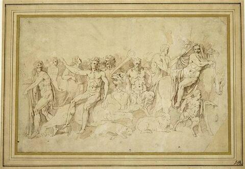 Triomphe de Bacchus assis sur une panthère, précédé par Silène