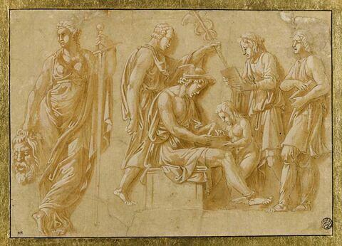 Mercure apprenant à lire à l'Amour, et femme tenant la tête d'un géant