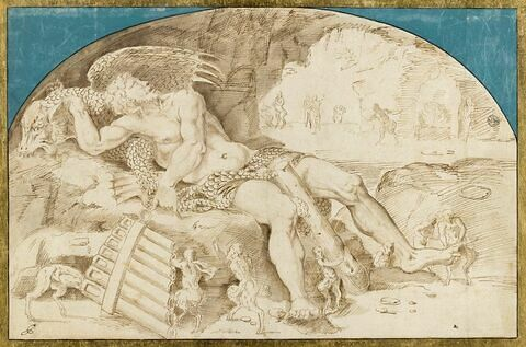 Polyphème endormi, visité par des faunes