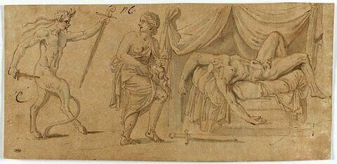 Femme tenant la tête d'un homme qu'elle a décapité, attaquée par un faune