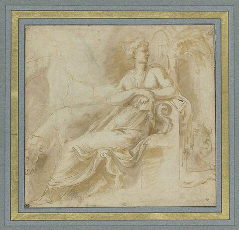 Femme assise sur un trône entre un bélier et un lion