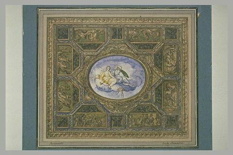 Décoration de plafond : deux femmes assises sur des nuages