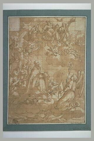 Apothéose d'un saint évêque porté sur des nuages avec Dieu et des anges