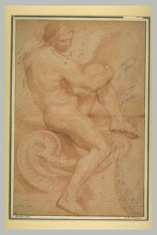 Figure nue, assise sur une volute, un genou replié  à l'avant