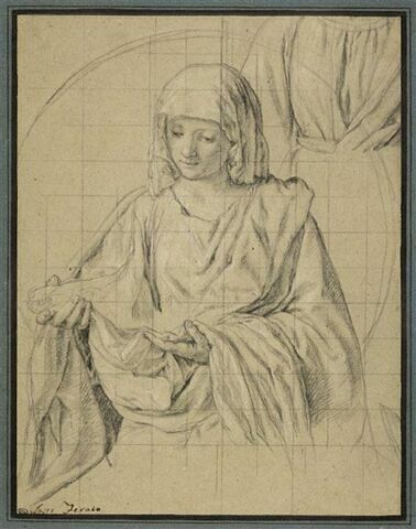 Femme la tête couverte d'un voile tenant la Sainte Face : sainte Véronique