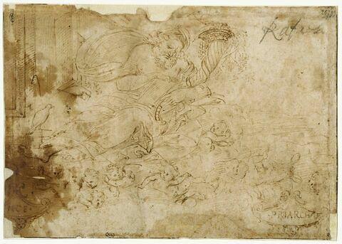 Noé lisant, près de l'arche, tenant une tablette et une corne d'abondance