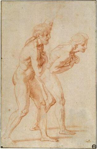 Deux hommes nus debout, de profil à droite : étude pour deux apôtres