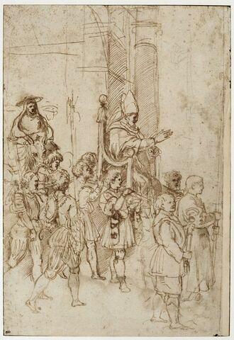 Le Pape Sylvestre Ier porté sur la Sedia Gestatoria, suivi d'un cardinal à dos de mulet