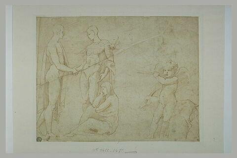Homme nu tenant la main à Mercure ; femme assise ; enfant ailé et une chèvre