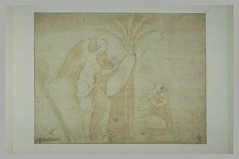 Femme ailée, écrivant, le pied gauche sur une sphère ; un homme agenouillé