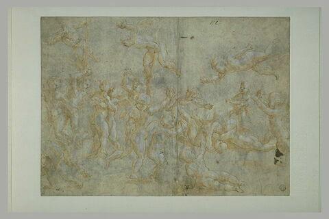 Neuf enfants nus, ailés, jouant avec neuf autres enfants nus