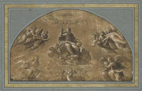 Dieu le Père bénissant, assis dans les nuées, entouré d'anges