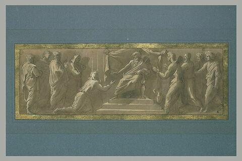Adonias implorant la grâce de Salomon ? Jérobam agenouillé devant Roboam ? Joseph devant le Pharaon ?
