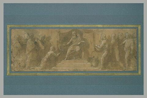Adonias implorant la grâce de Salomon ? Jéroboam agenouillé devant Roboam ? Joseph devant le Pharaon