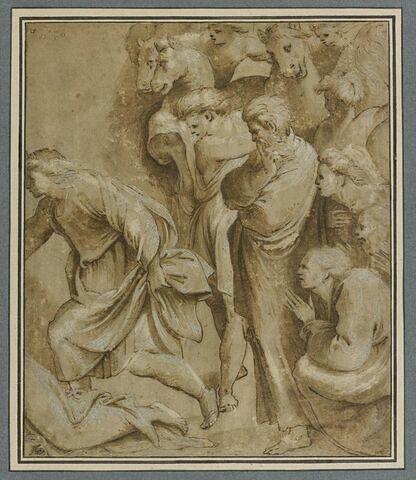 Dix figures tournées vers la gauche, d'après l'Adoration des Mages