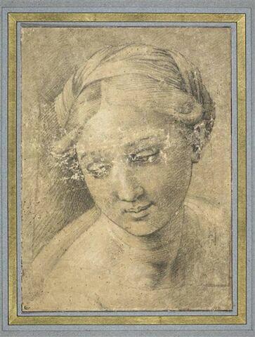 Tête de la Vierge, les yeux baissés, d'après celle de la Perla