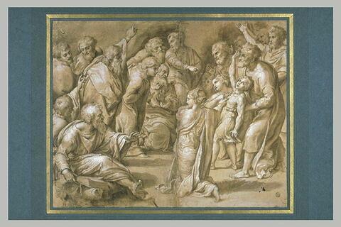 Jeune garçon possédé entouré de dix-huit figures, d'après la Transfiguration